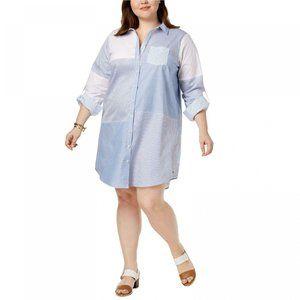 NWT Tommy Hilfiger Patchwork Shirt Dress 20W Blue
